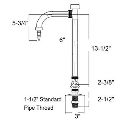 Polypro Deck Mount Lab Faucet w/ Integral Vacuum Breaker (Threaded ...